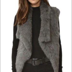 Genuine Rabbit Fur Gray Vest w/ Knit Back
